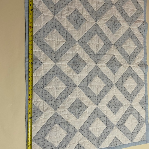 Blue quilted baby blanket